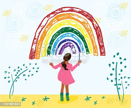 Little african american toddler girl is drawing rainbow. Kid painting rainbow on the sky. Hand drawn vector cartoon illustration