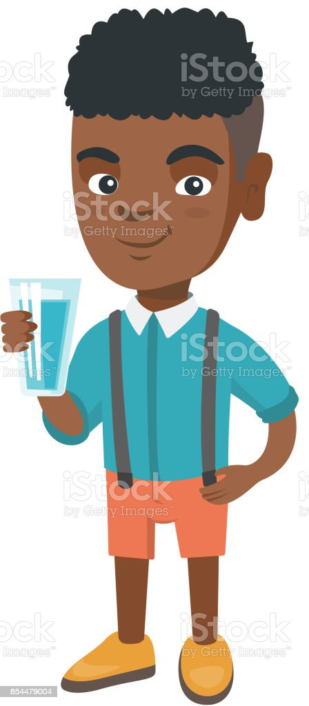 Little african boy holding a glass of water vector art illustration