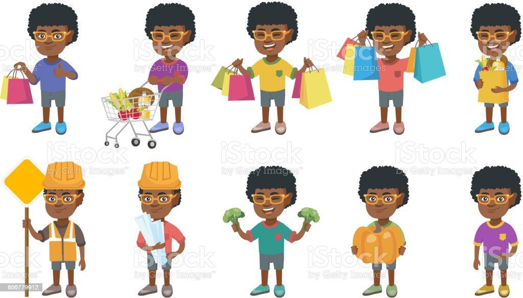 Little african boy vector illustrations set vector art illustration
