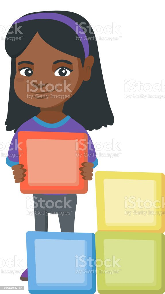 Little african girl playing with clourful cubes vector art illustration