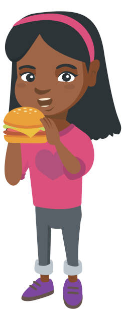Little african-american girl eating a hamburger Little african-american girl eating a hamburger with appetite. Cheerful girl holding a big hamburger. Vector sketch cartoon illustration isolated on white background. female sandwich stock illustrations