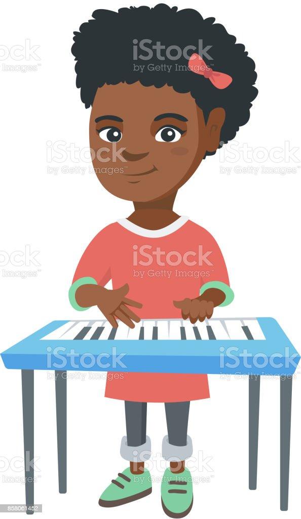 アフリカ系アメリカ人少女ピアノ演奏 1人のベクターアート素材や画像を