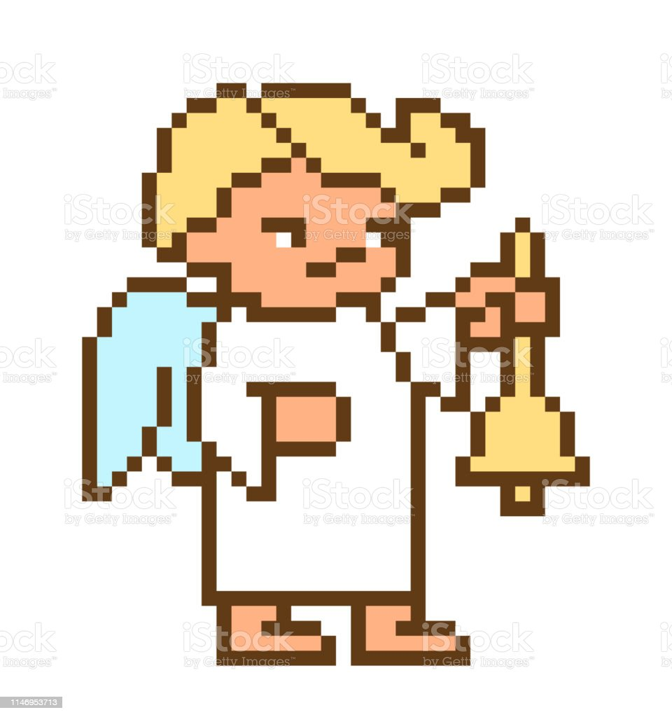 Little Angel Boy Ringing A Bell Pixel Art Character Isolated