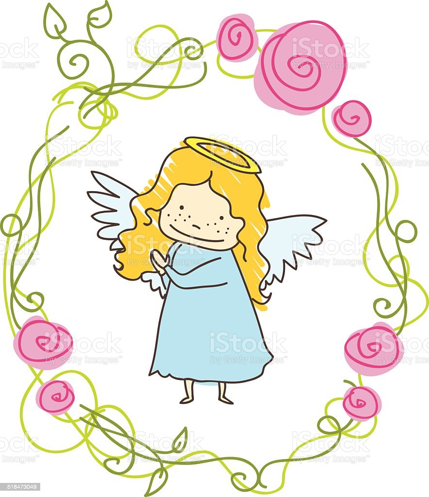 Little Angel Frame Picture Border Stock Vector Art & More Images of ...