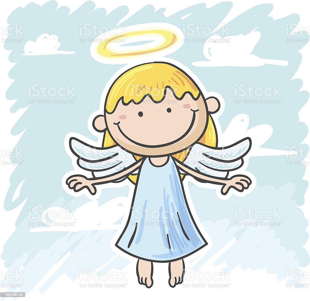 Kleiner Engel Mädchen Comicfigur Stock Vektor Art und mehr