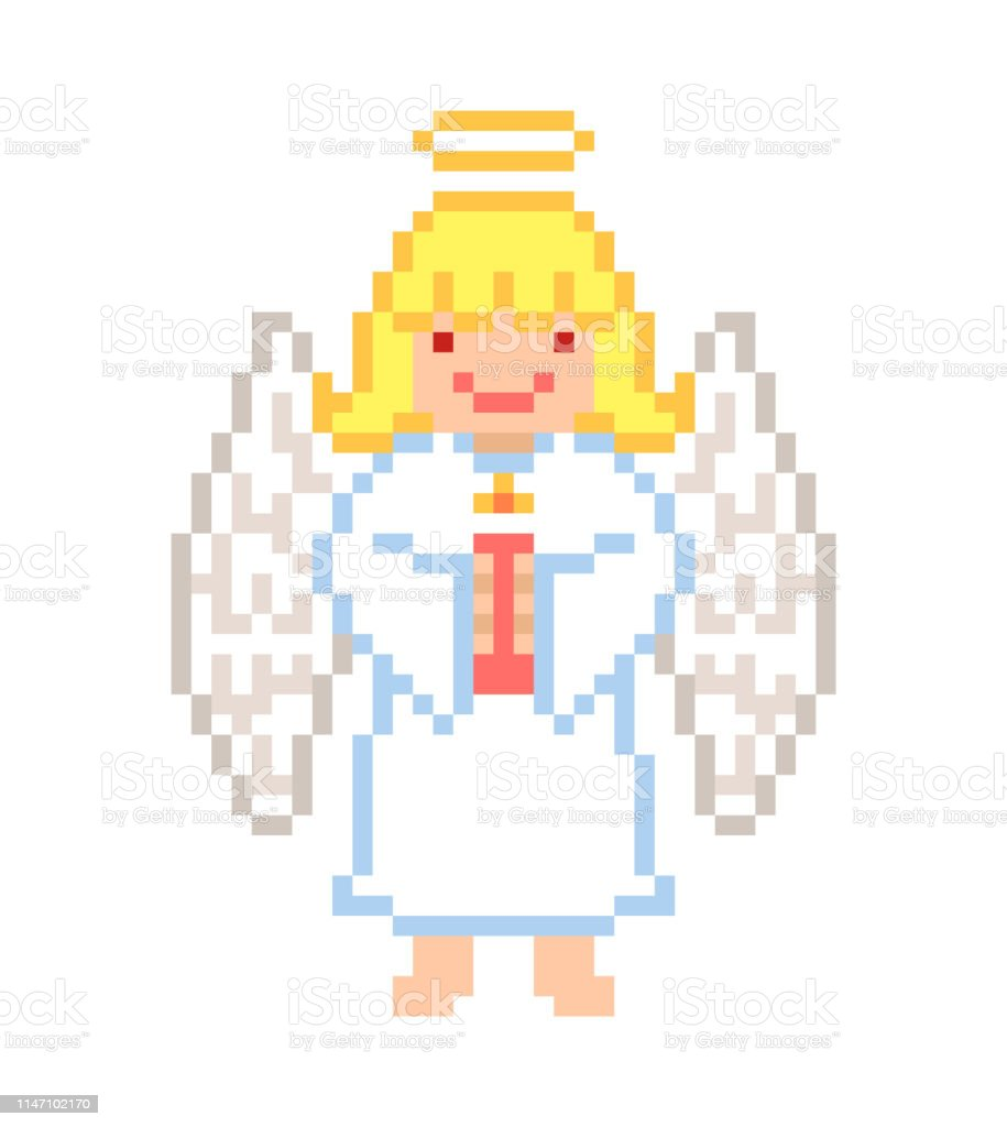 Little Angel Girl With A Candle Pixel Art Character Isolated