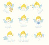 Little  Angels Praying, Flying, Singing. ZIP contains AI format, PDF and jpeg.