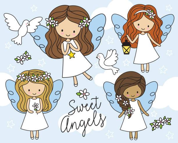 ilustraciones, imágenes clip art, dibujos animados e iconos de stock de angelitos en vestido blanco vector ilustración - comunión