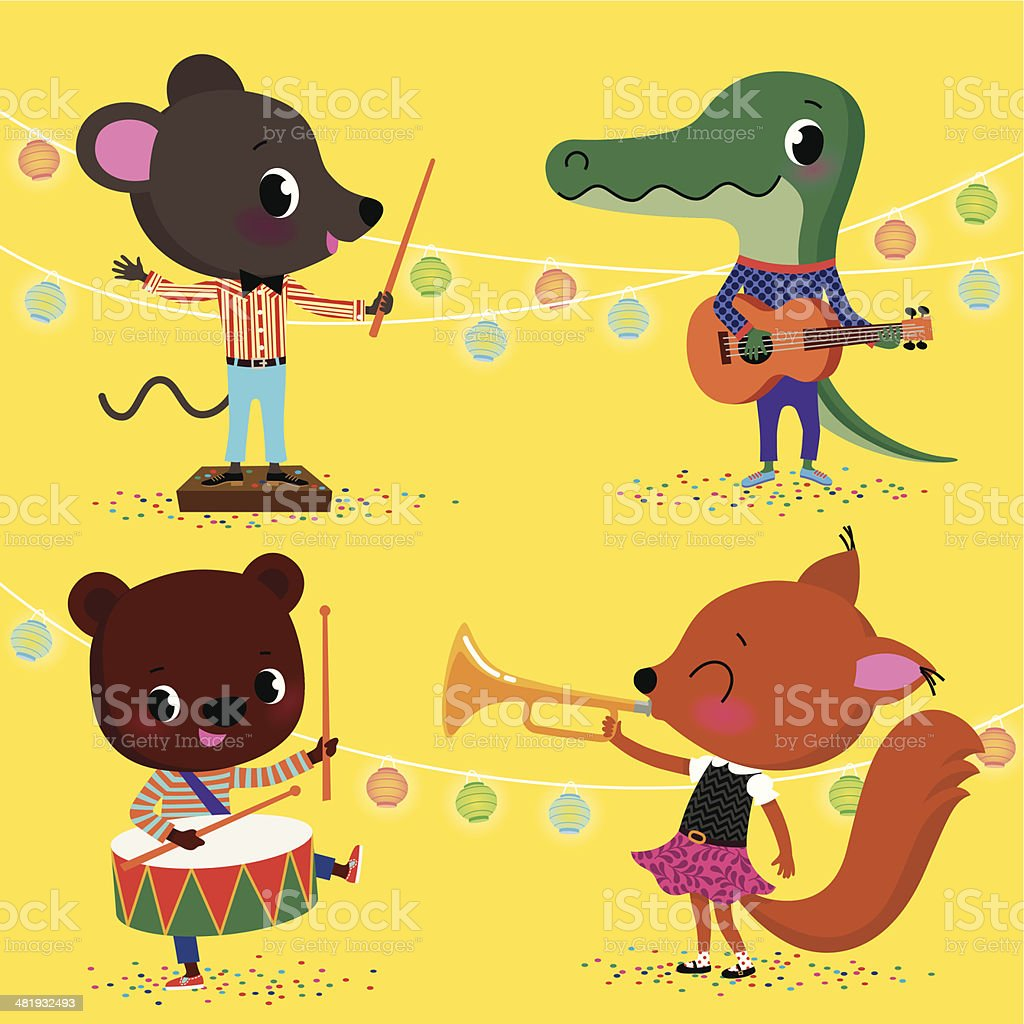 Little Animals Orchestra. vector art illustration