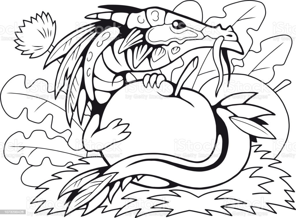 - Little Apple Dragon Coloring Book Funny Illustration Stock Illustration -  Download Image Now - IStock