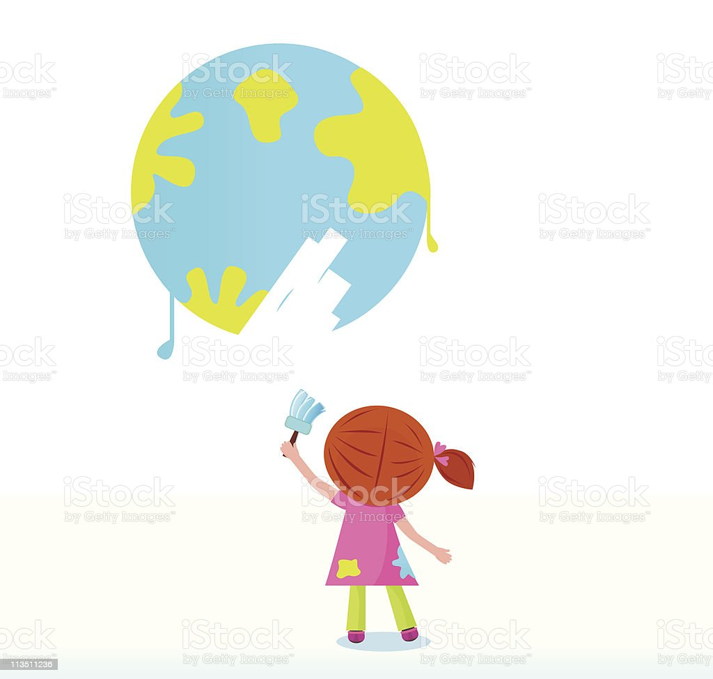 Little artist - child painting Earth ( planet, globe ) royalty-free stock vector art