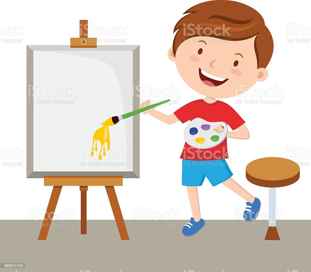 Little artist painting vector art illustration
