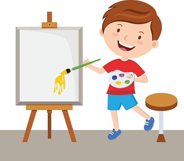 Little artista pintando - ilustración de arte vectorial