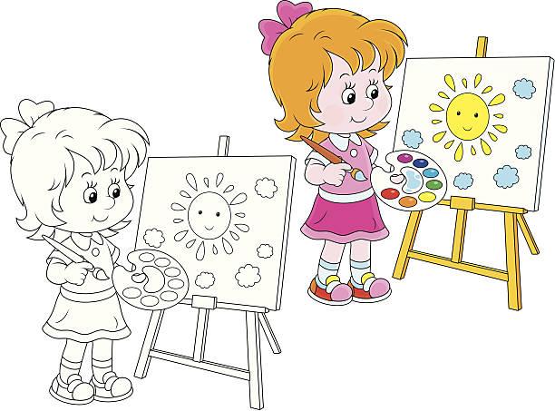 kleine künstler - kunstunterricht stock-grafiken, -clipart, -cartoons und -symbole