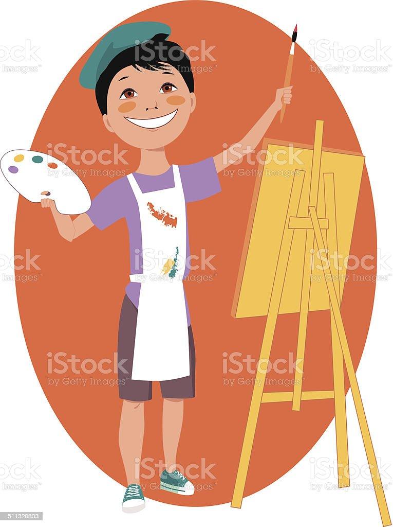 Little artist vector art illustration