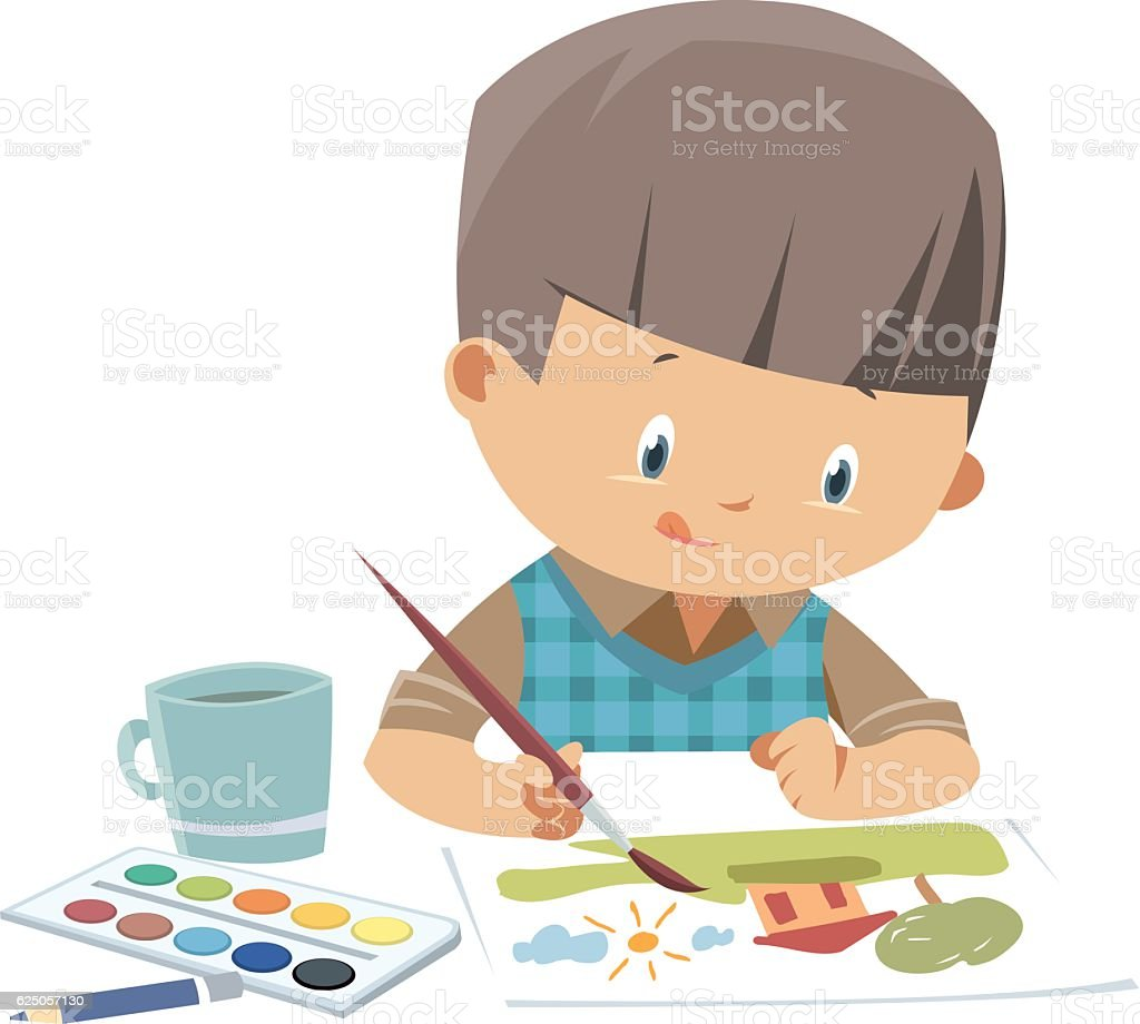 Little artist vector art illustration