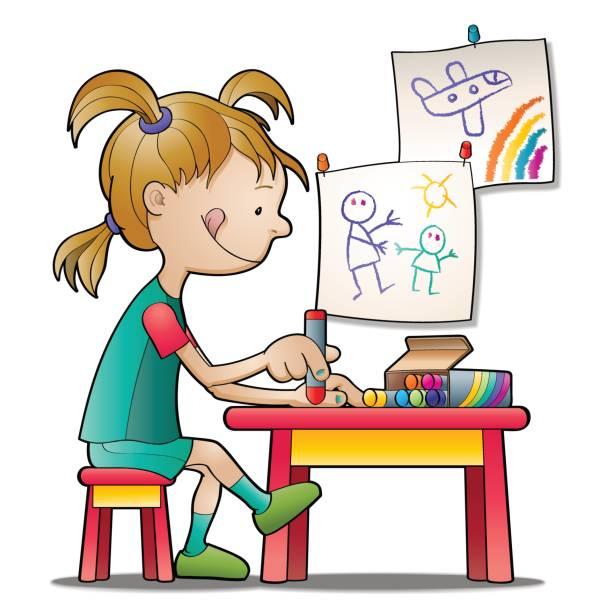ilustrações, clipart, desenhos animados e ícones de little artista - aula de redação