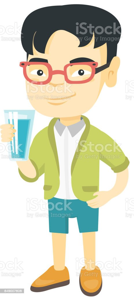 Little asian boy holding a glass of water vector art illustration