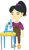 Happy little asian schoolgirl conducting experiment with a microscope. Smiling schoolgirl standing near a microscope. Vector sketch cartoon illustration isolated on white background.