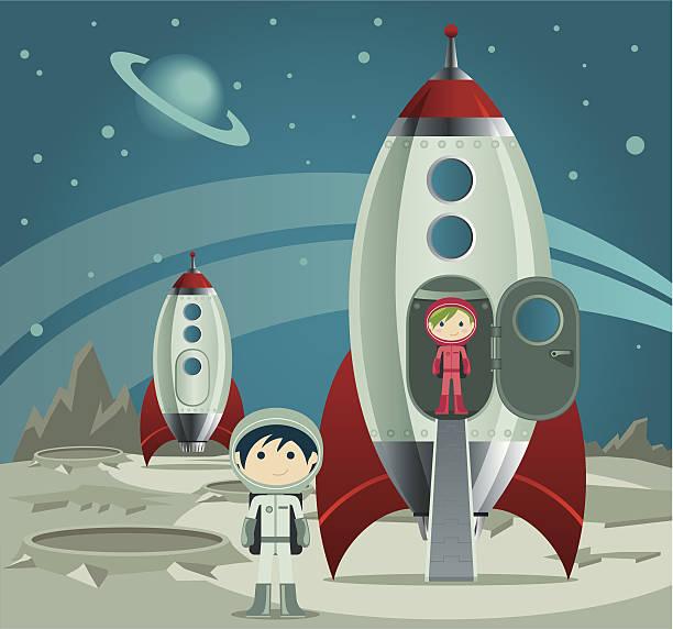 小さな宇宙飛行士 - 宇宙探検点のイラスト素材/クリップアート素材/マンガ素材/アイコン素材