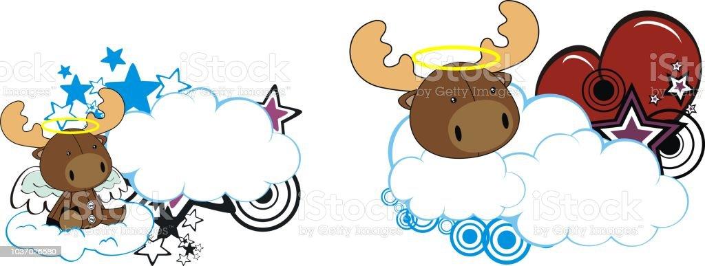 little baby angel moose cartoon cloud heart