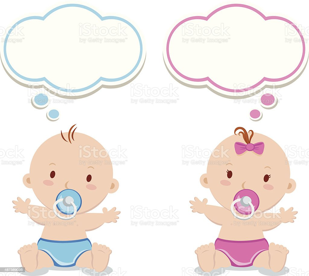 Little baby boy and baby girl vector art illustration