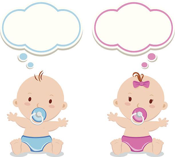Little baby boy and baby girl vector art illustration
