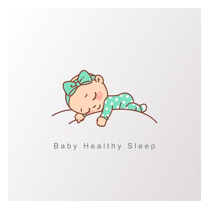 Little baby boy, girl sleep peacefully on soft white cloud.