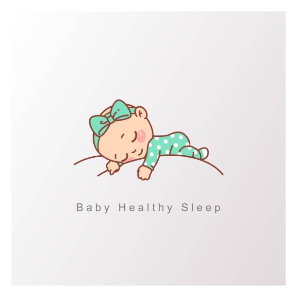 小さな男の子、女の子は穏やかな白い雲の上で安らかに眠ります。 - 赤ちゃん点のイラスト素材/クリップアート素材/マンガ素材/アイコン素材