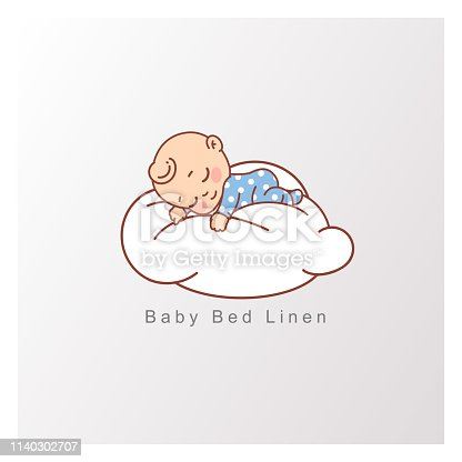 Pillow and blanket for child. Template for logotype for healthy sleep, baby bed clothes, linen. Color vector illustration.