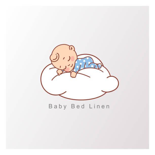 青いパジャマの小さな男の子は、柔らかい白い雲の上で安らかに眠ります。 - 赤ちゃん点のイラスト素材/クリップアート素材/マンガ素材/アイコン素材