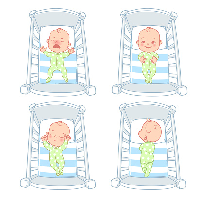 Little baby boy or girl in bed, crib.
