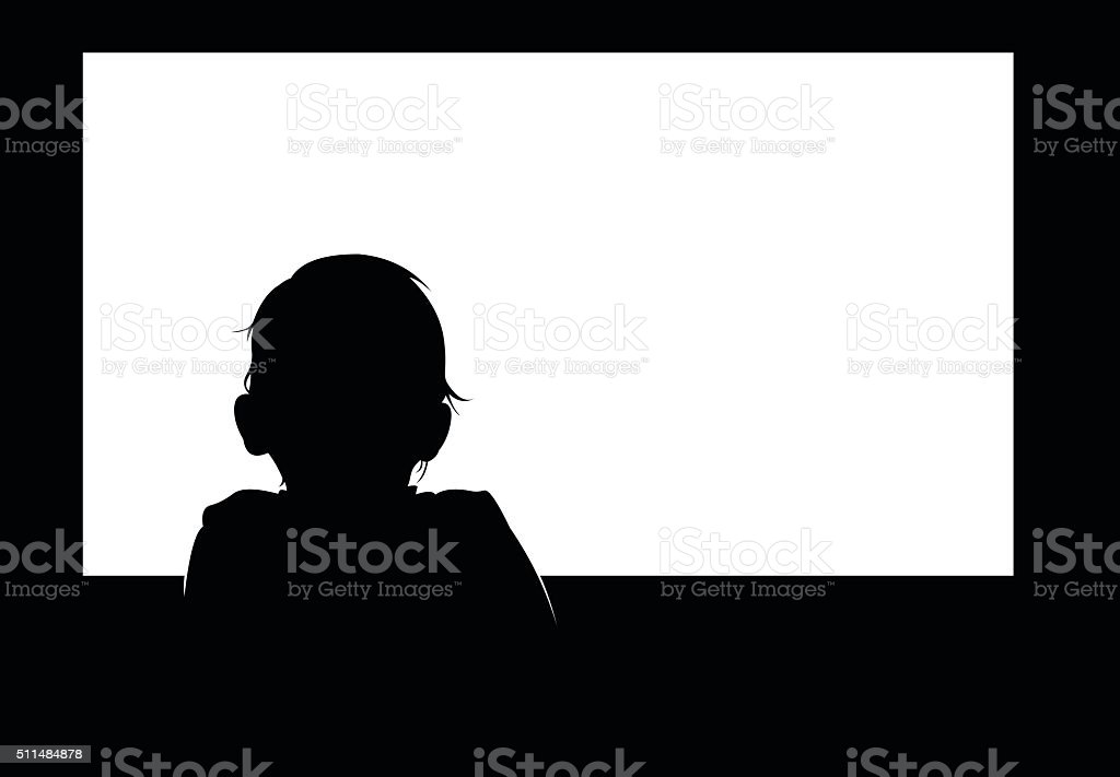 Little baby boy watching blank white television screen. vector art illustration