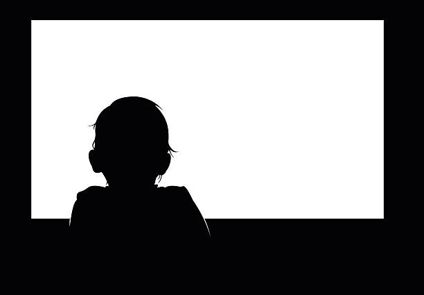 Little baby boy watching blank white television screen. Little baby boy watching blank white television screen. Easy editable layered vector illustration. watching tv stock illustrations