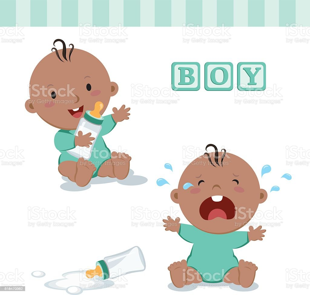 Little baby boy with milk bottle vector art illustration