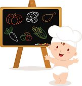 Little baby chef. Baby boy with board.