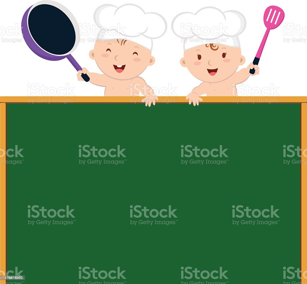 Little baby chefs with board vector art illustration