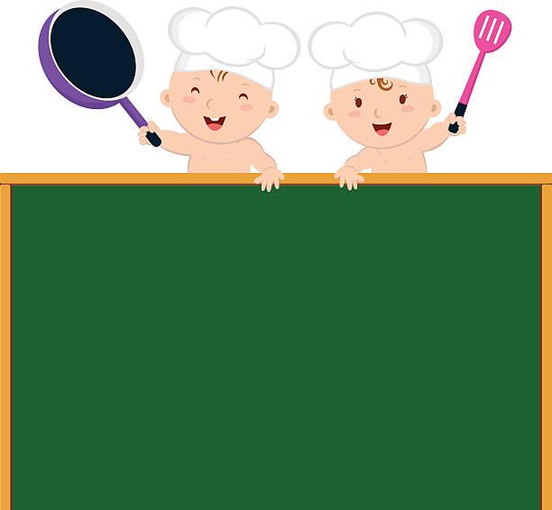 kleines baby köche mit bügelbrett - hauswirtschaft stock-grafiken, -clipart, -cartoons und -symbole