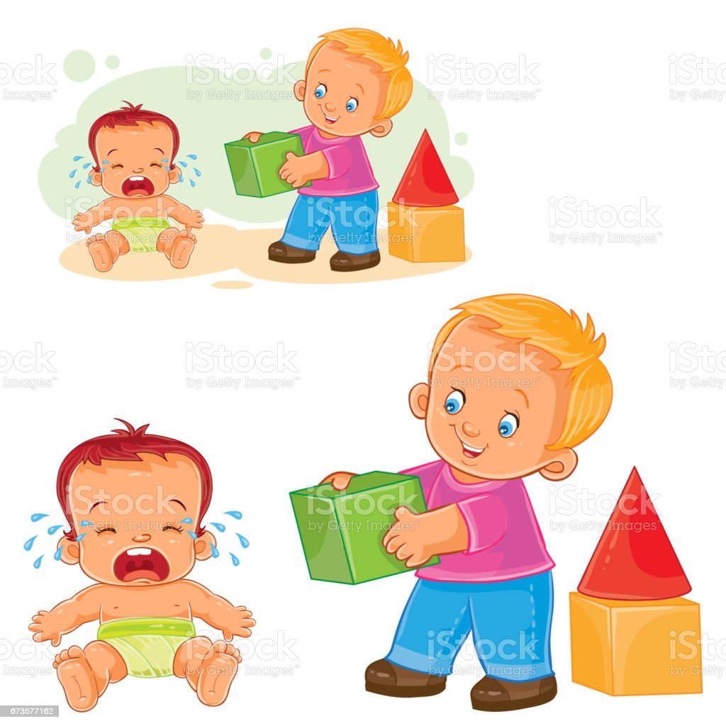 Little baby crying while an older brother wants to comfort him and gives his cube. vector art illustration
