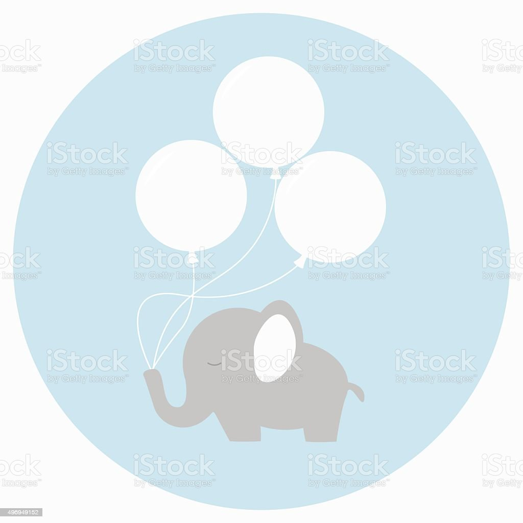 Little baby elephant with big balloons. vector art illustration