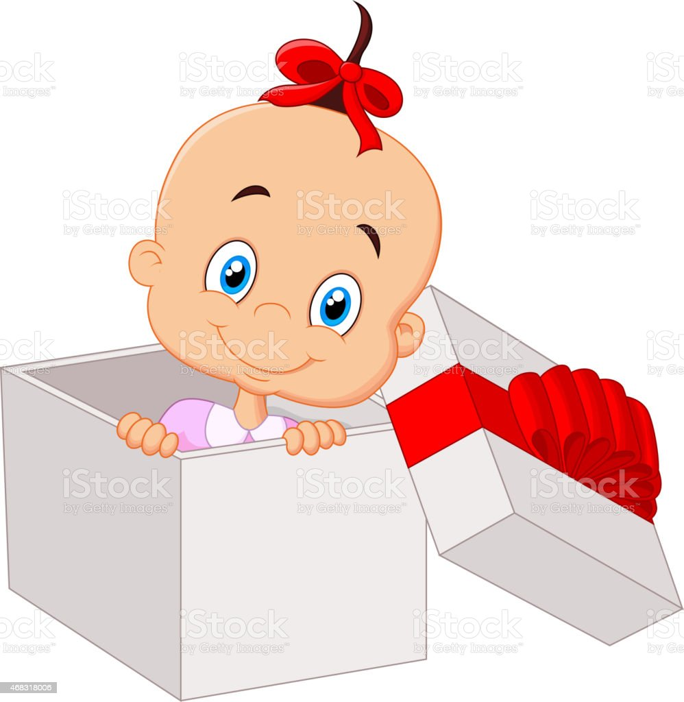 open present clipart. little baby girl cartoon inside open gift box vector art illustration present clipart h