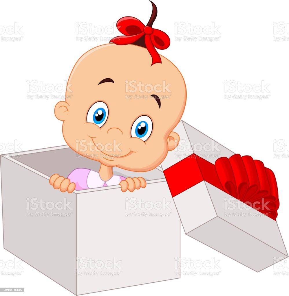 open present clipart. little baby girl cartoon inside open gift box vector art illustration present clipart h