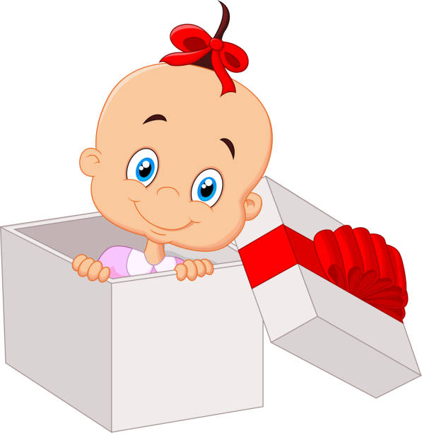 Royalty Free Girl Opening Gift Clip Art, Vector Images ...