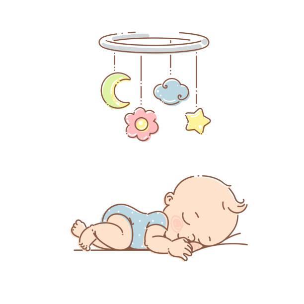 bildbanksillustrationer, clip art samt tecknat material och ikoner med liten baby flicka sova under mobil leksak. - baby sleeping