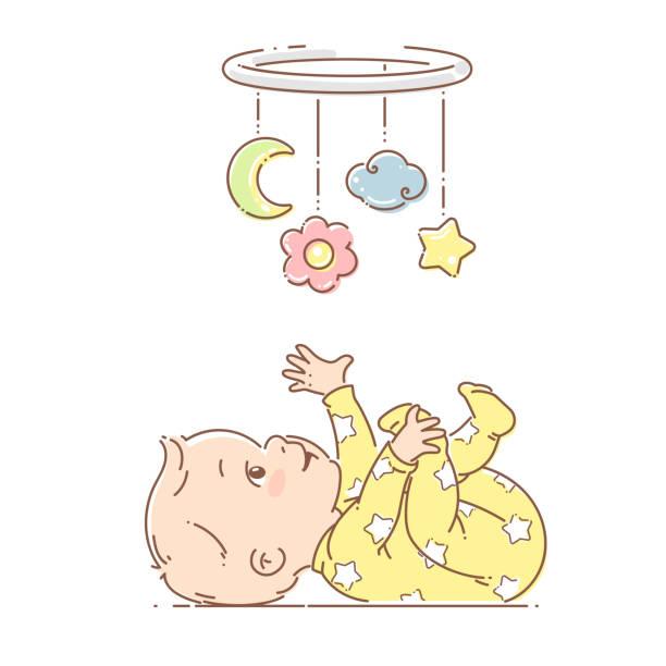 ilustrações, clipart, desenhos animados e ícones de sono pequeno do bebé o brinquedo móvel. - mobile