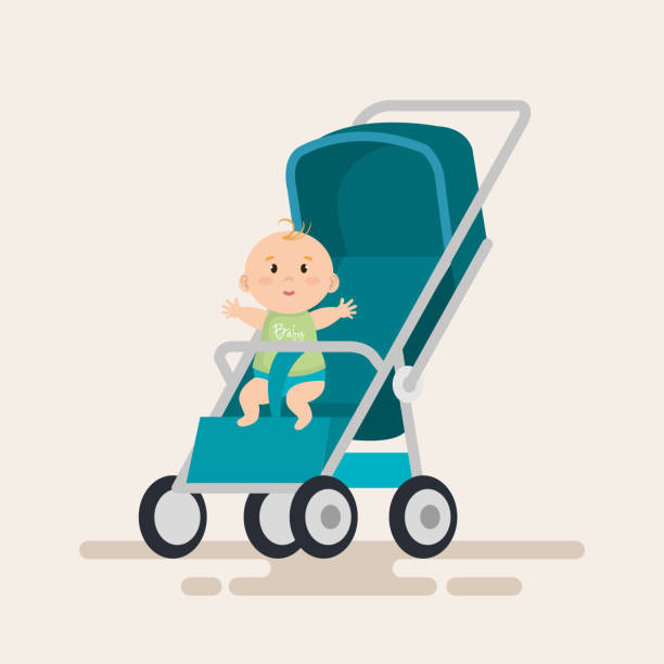 little baby in cart character little baby in cart character vector illustration design baby carriage stock illustrations