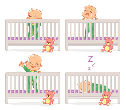 Little baby in crib.