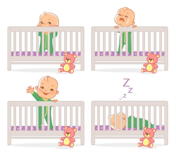 stockillustraties, clipart, cartoons en iconen met kleine baby in de wieg. - alleen één jongensbaby