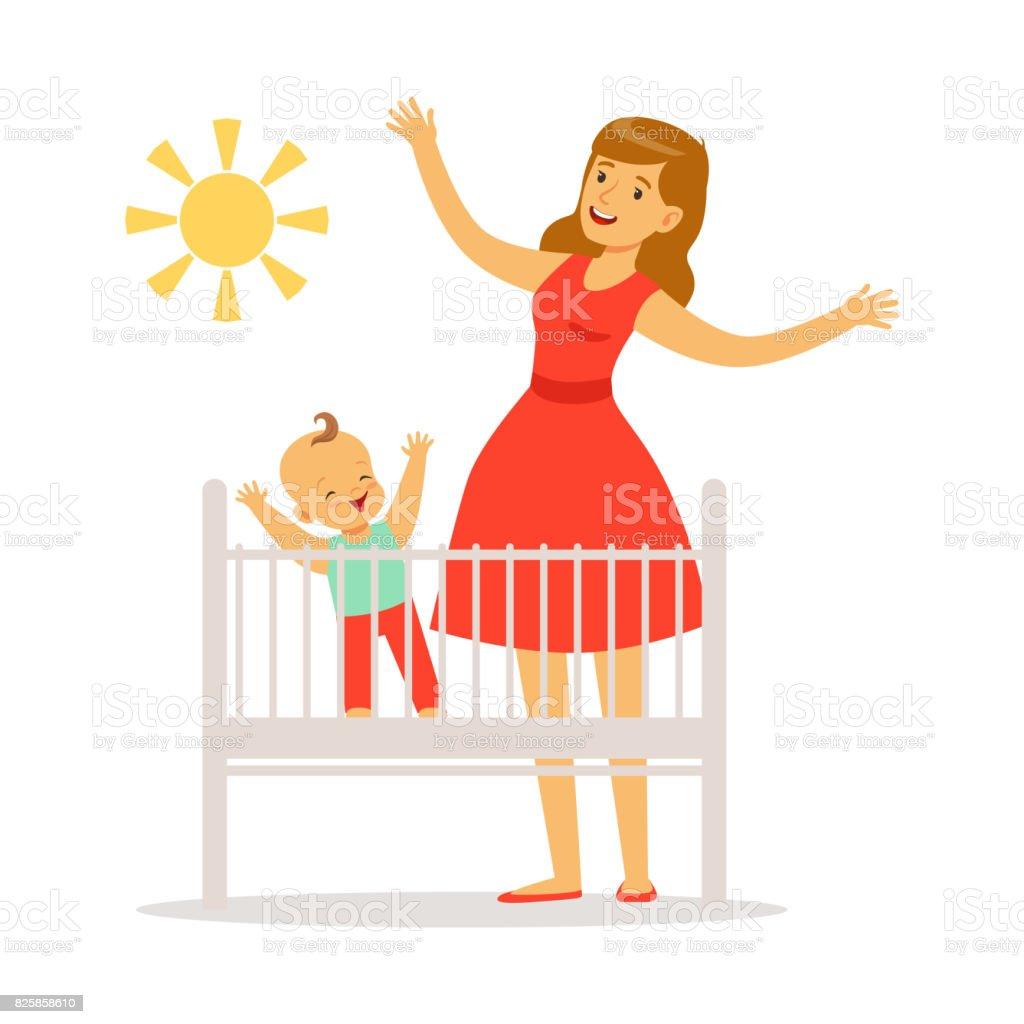 Kleines Baby ist in der Krippe wachte am Morgen, Mutter und Baby im Schlafzimmer genießen des Sonne bunt Vektors Illustration – Vektorgrafik