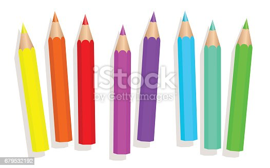 Little baby neon crayons - fluorescent colored short pencils loosely arranged - isolated vector illustration on white background.